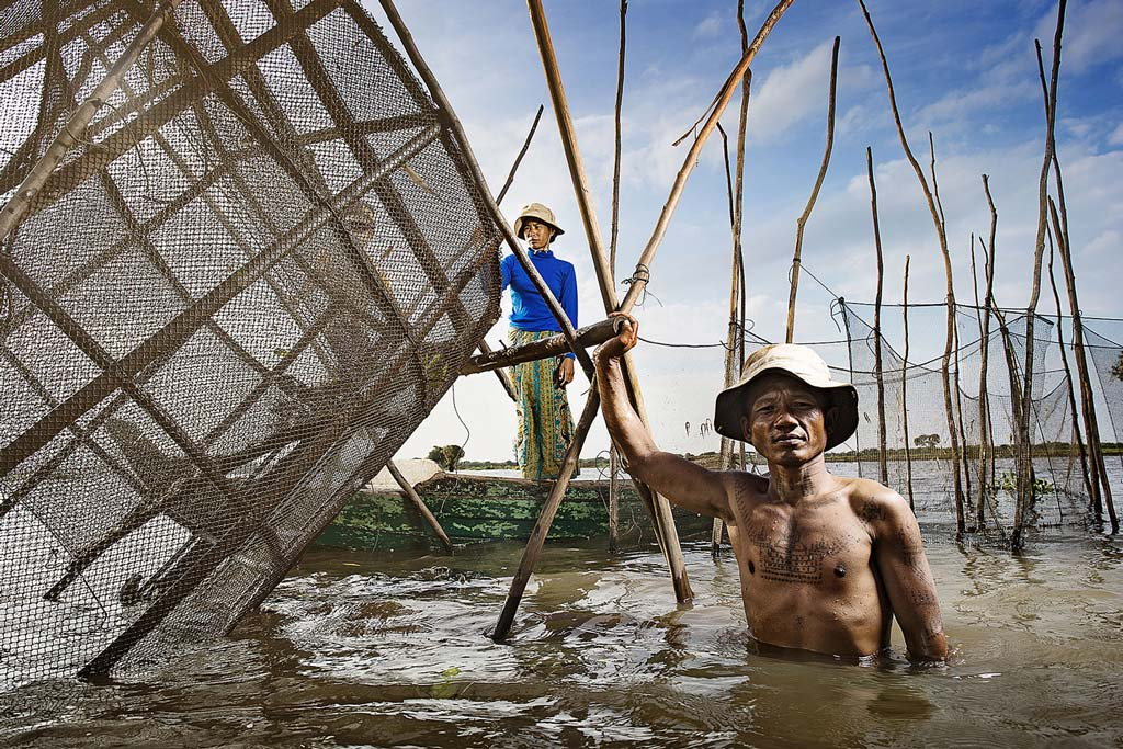 Photo of cambodian fisherman