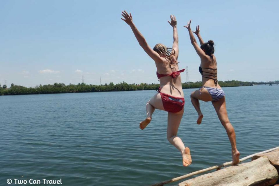 kampot-Jumping-off-the-deck-at-Samons-Village-Kampot