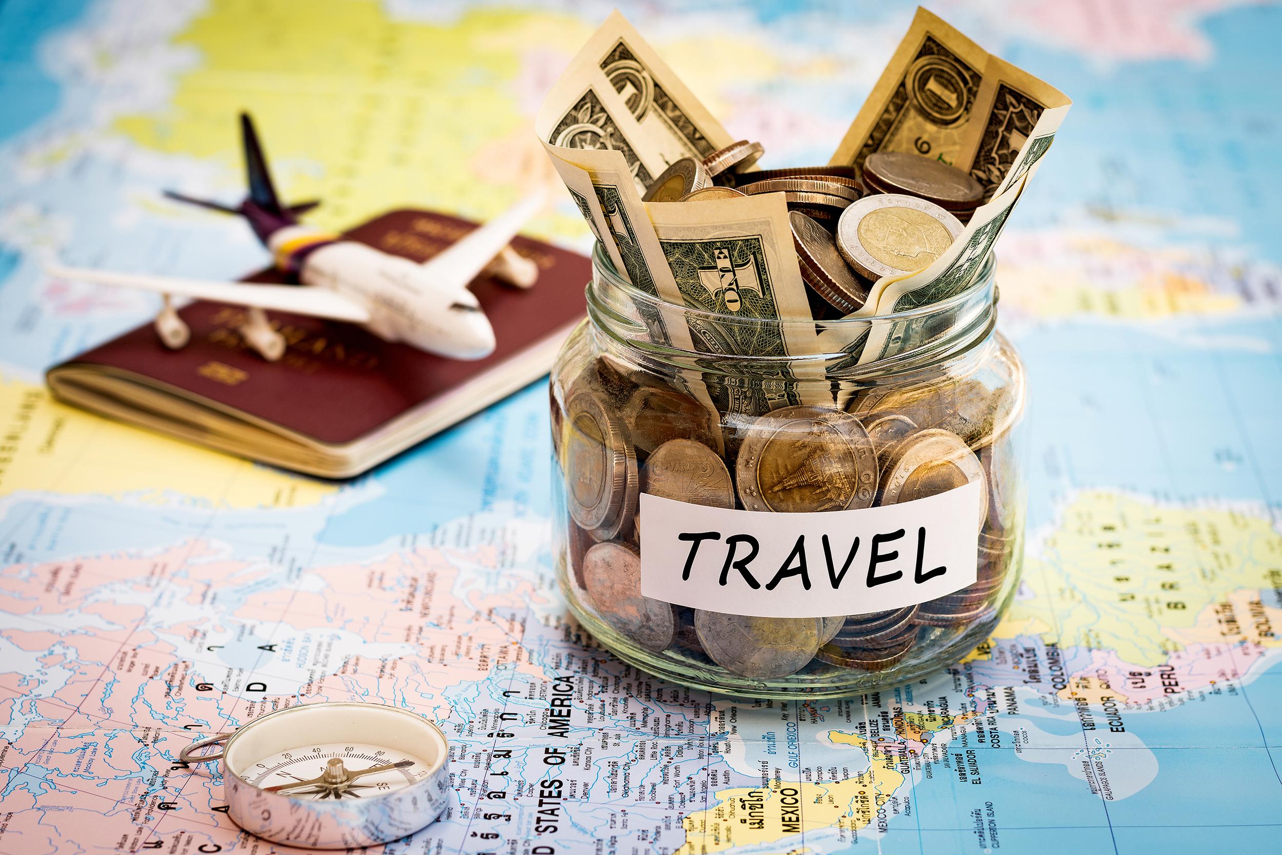 Money, passport and map