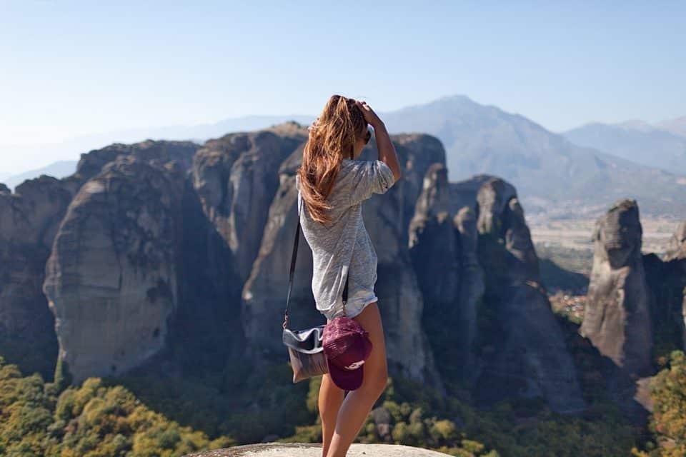 A woman looking at mountain views