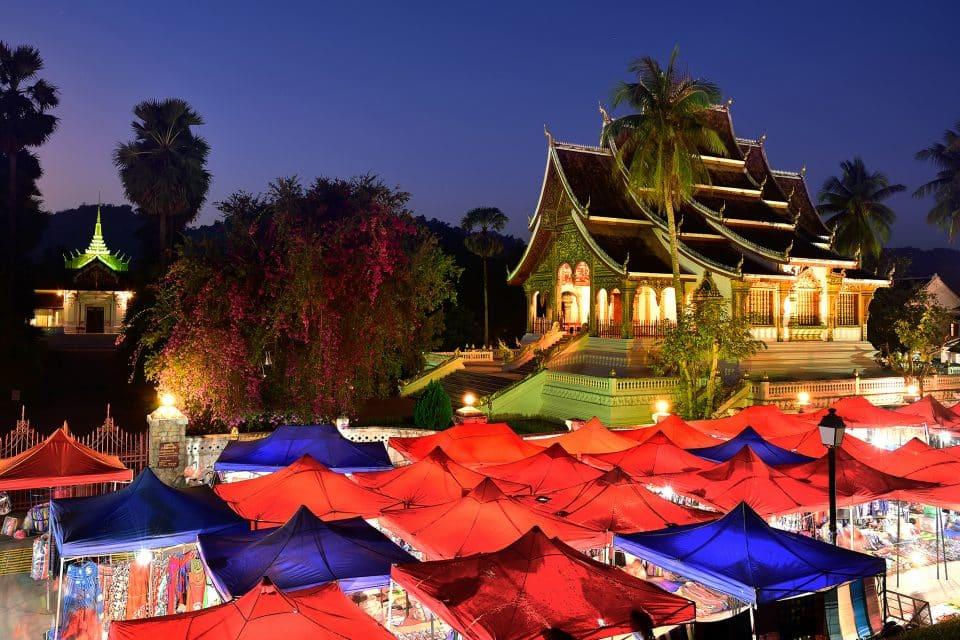 Stalls at night market in Luang Prabang