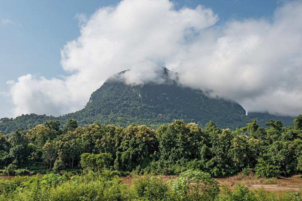 Looking up at Mount Phousi