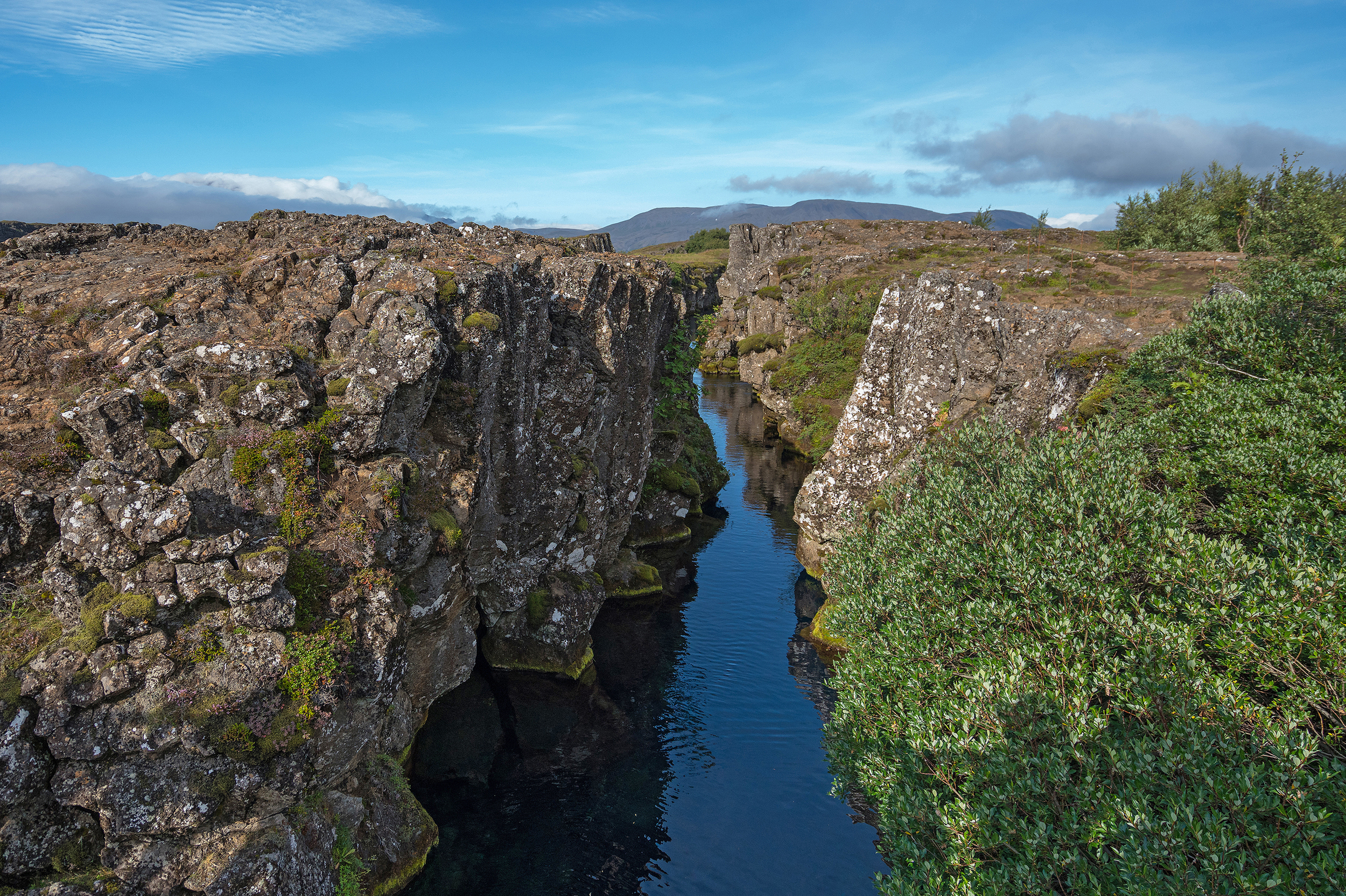 Fault lines in Pingvellir National park, Iceland.