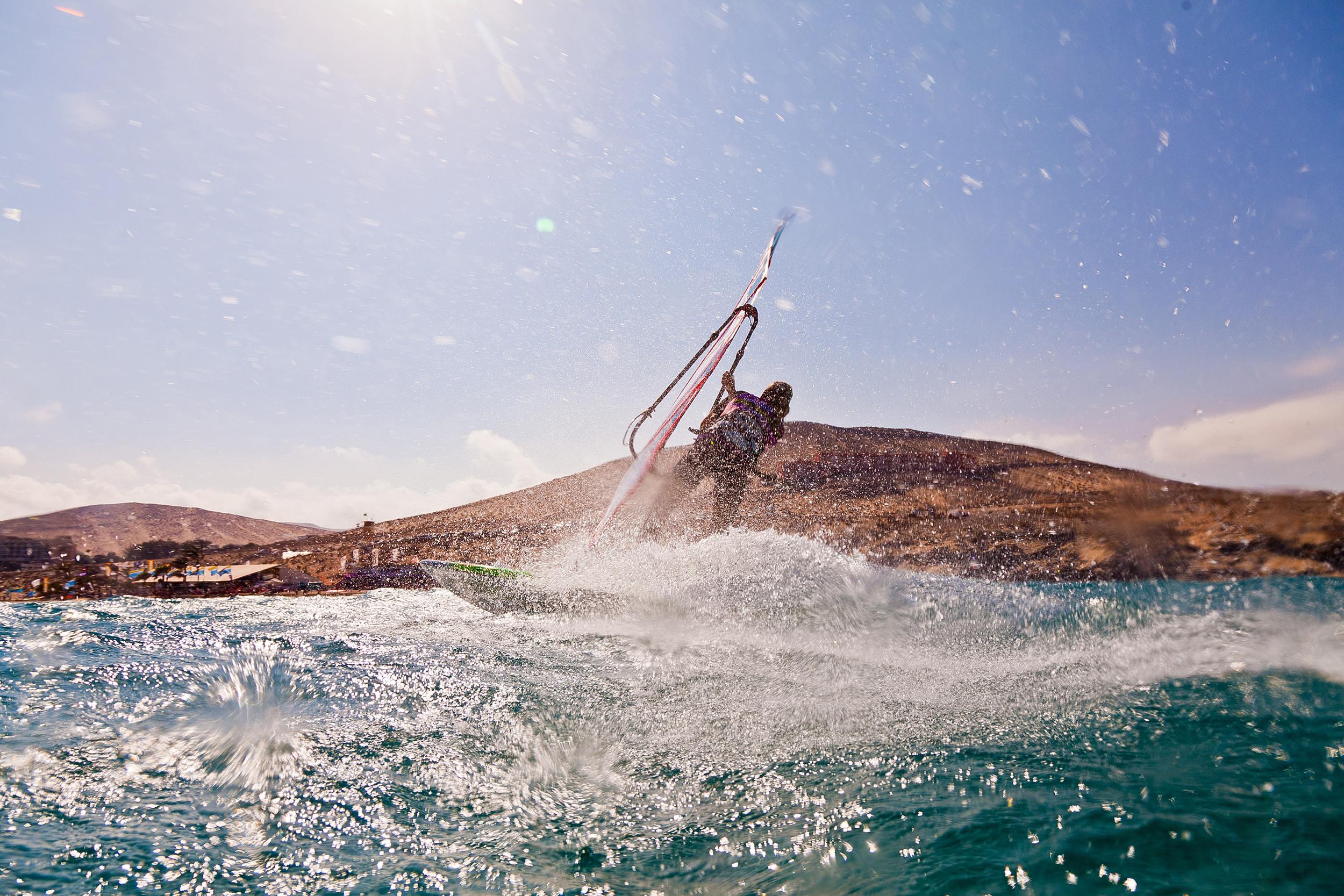Windsurfer rides a wave