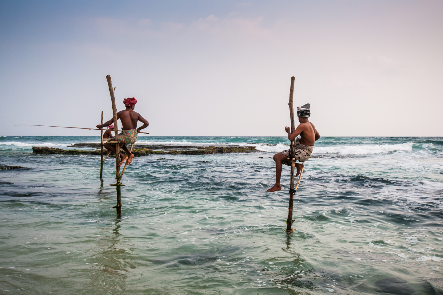Local fishermen in Ahangama, Sri Lanka