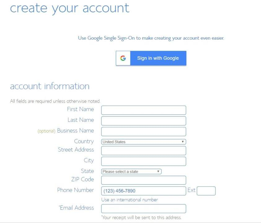 Bluehost sign up screen