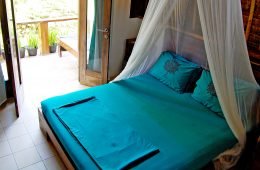 A double bed with an overhanging net