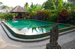 Turquoise outdoor swimming pool