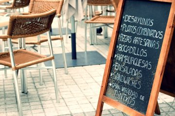 A menu board with spanish writing