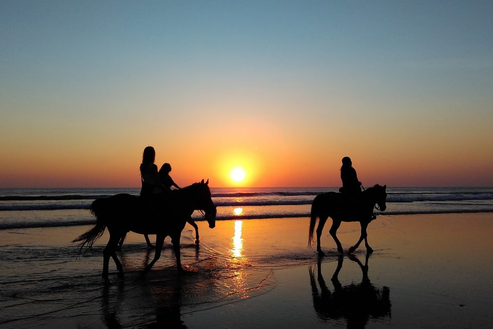 3 people on horseback on beach