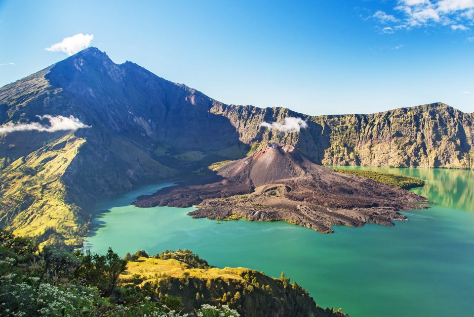 View of Segara Anak crater lake, Mount Rinjani, Lombok, Indonesia