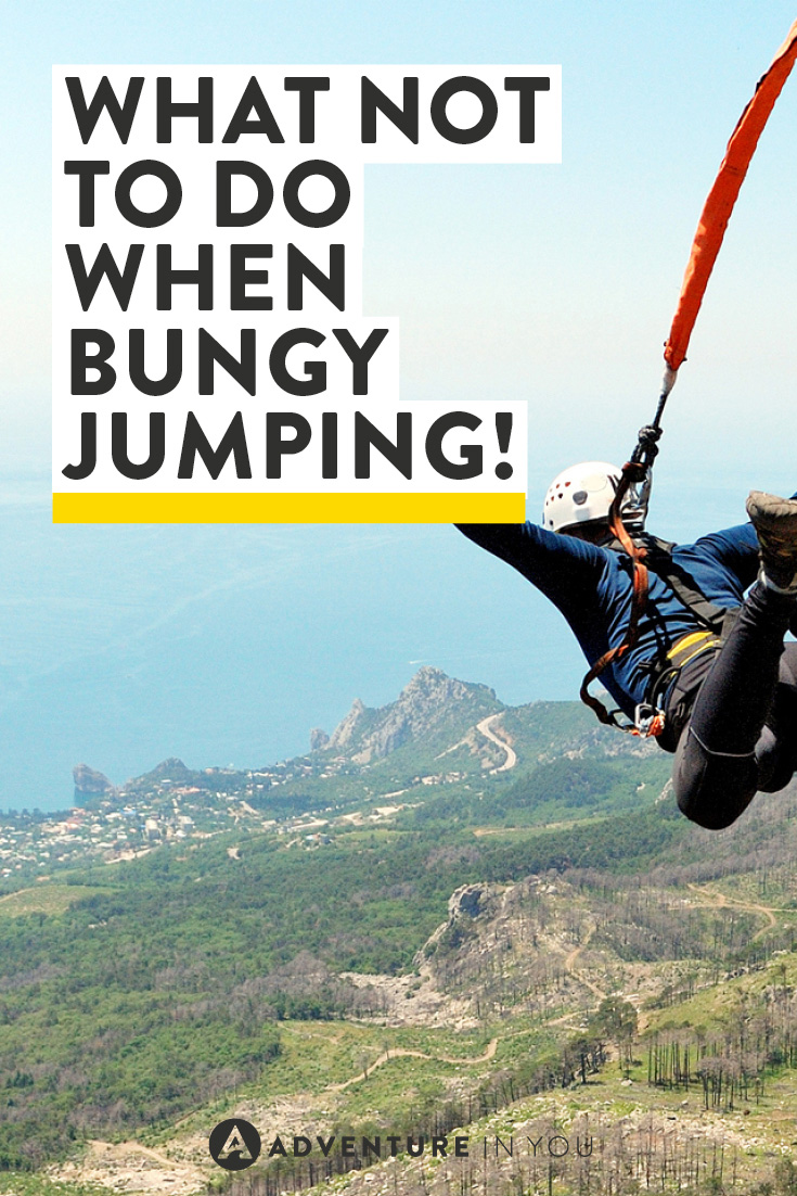 Safety first guys! What not to do when bungy jumping!