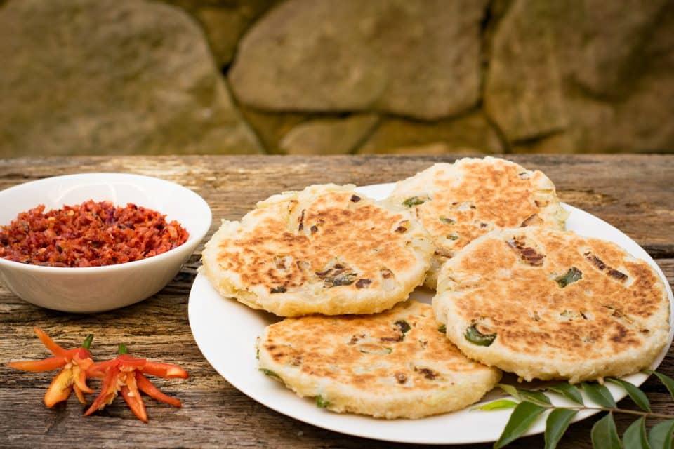 Pol Roti, a traditional snack in Sri Lanka