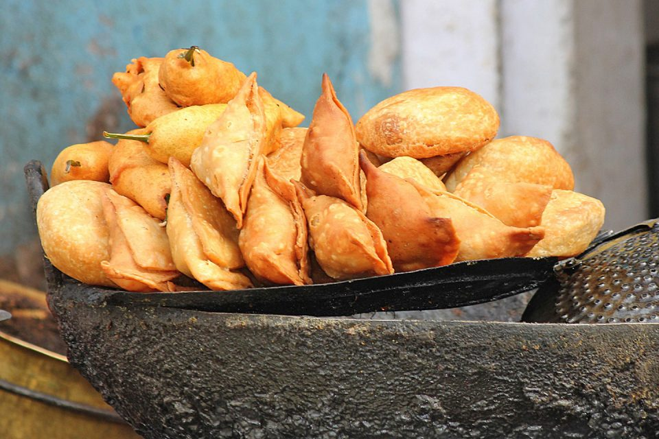 Samosas cooked out in the street in Sri Lanka