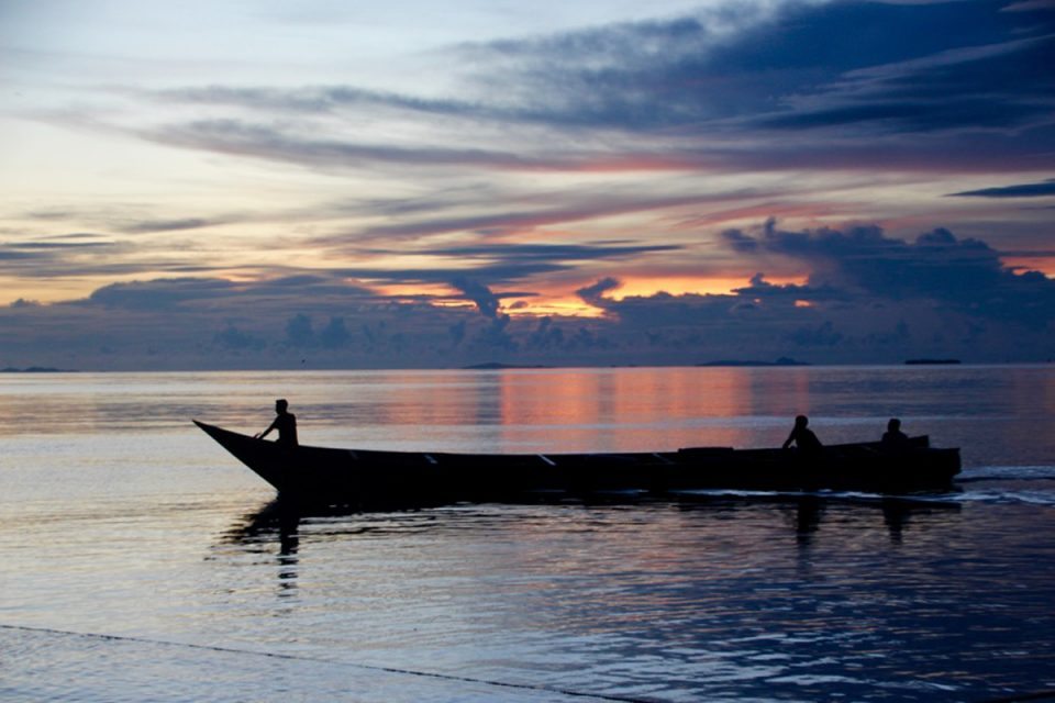 A boat at sunset, Raja Ampat, Indonesia