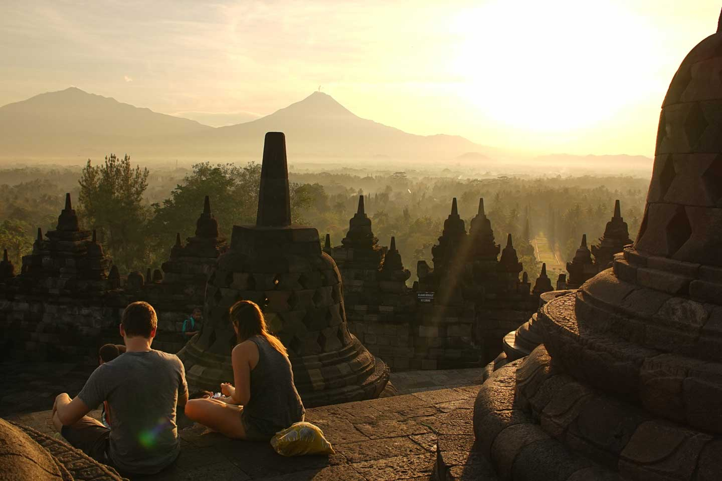 borobudur sunrise in indonesia