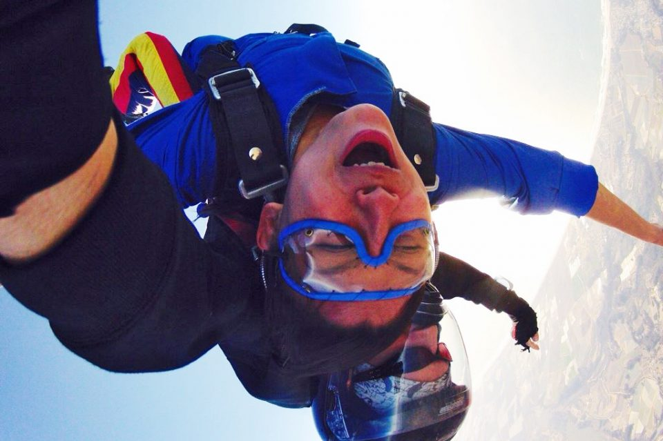 A woman skydiving