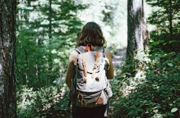 A woman trekking through the forest