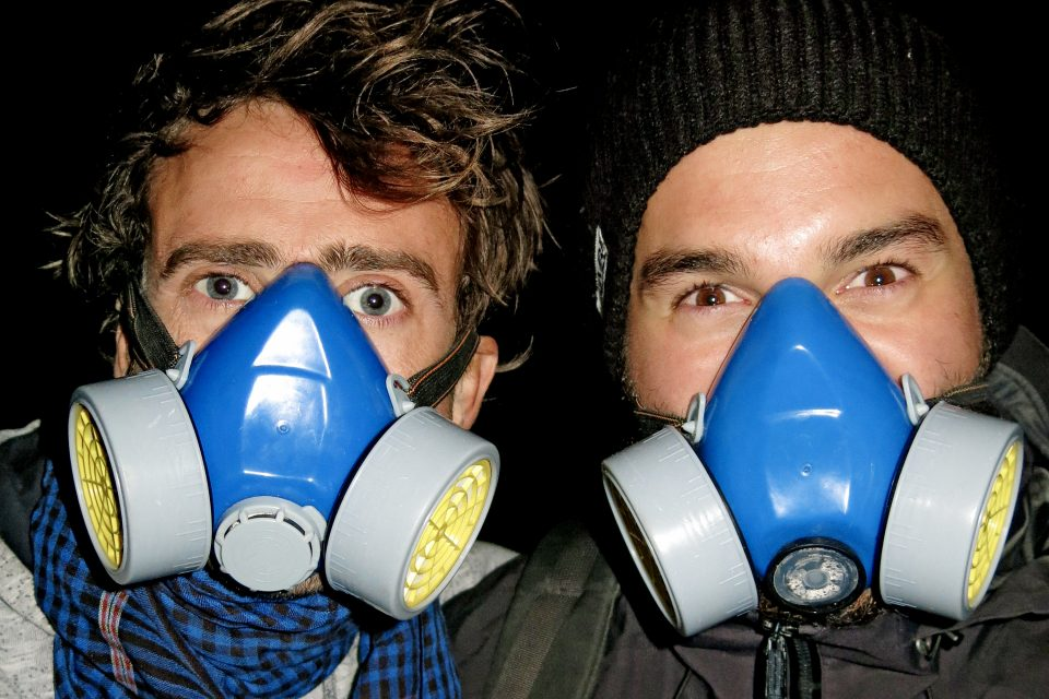 Men with gas masks on