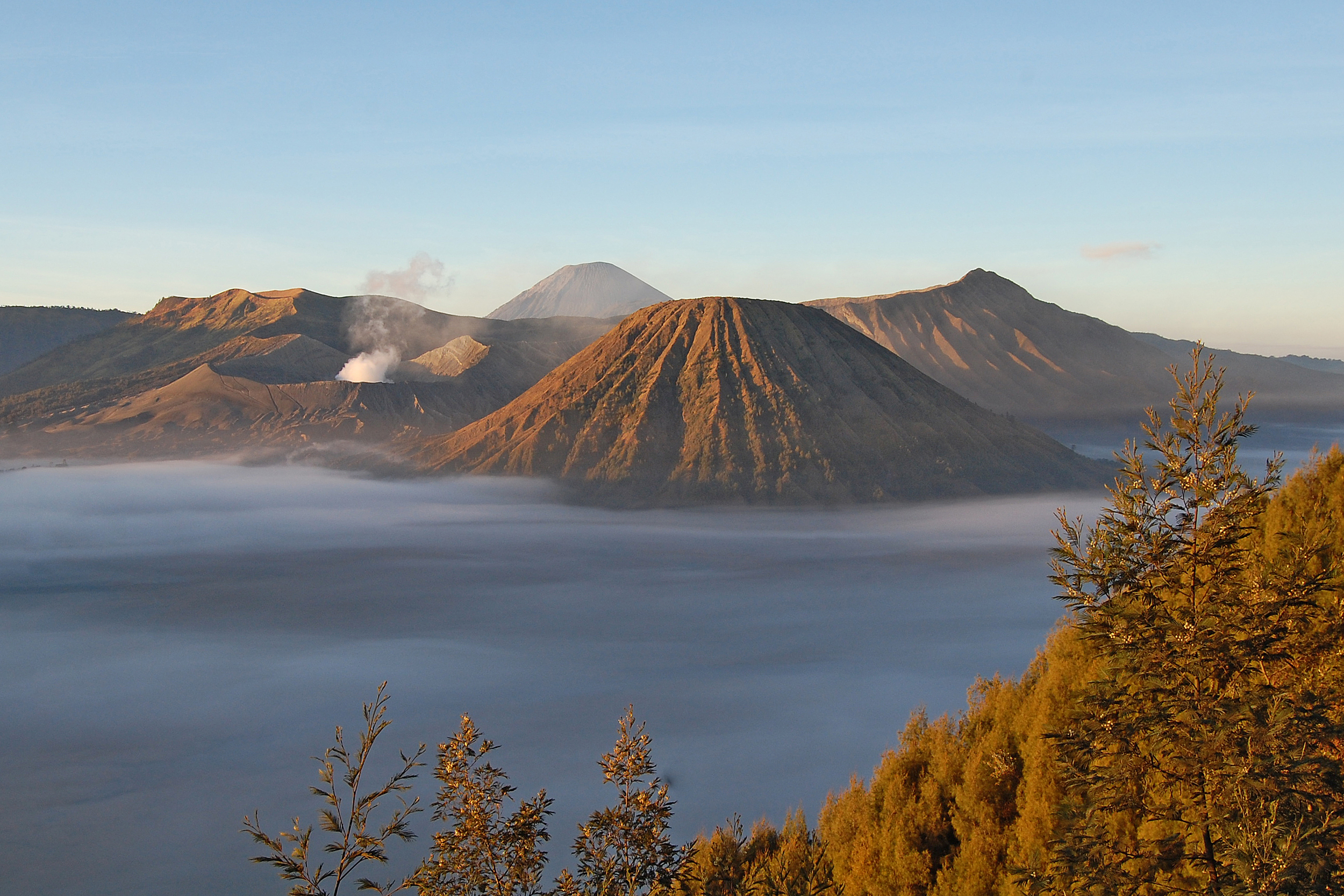 The peak of mount bromo above the clouds