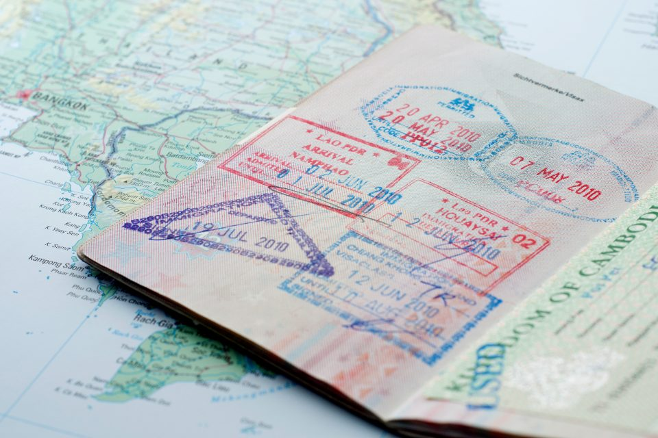 Close up of stamps in a passport