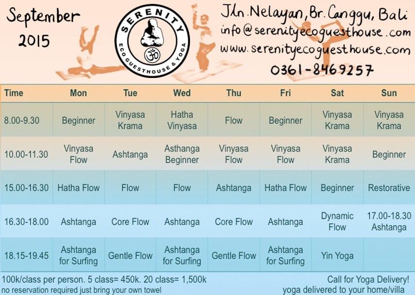 serenity yoga schedule