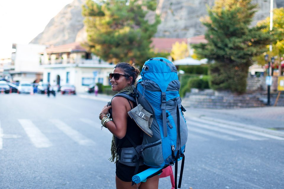 A female backpacker