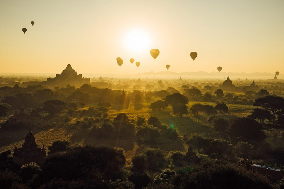 Hot air balloons in the sky at sunset