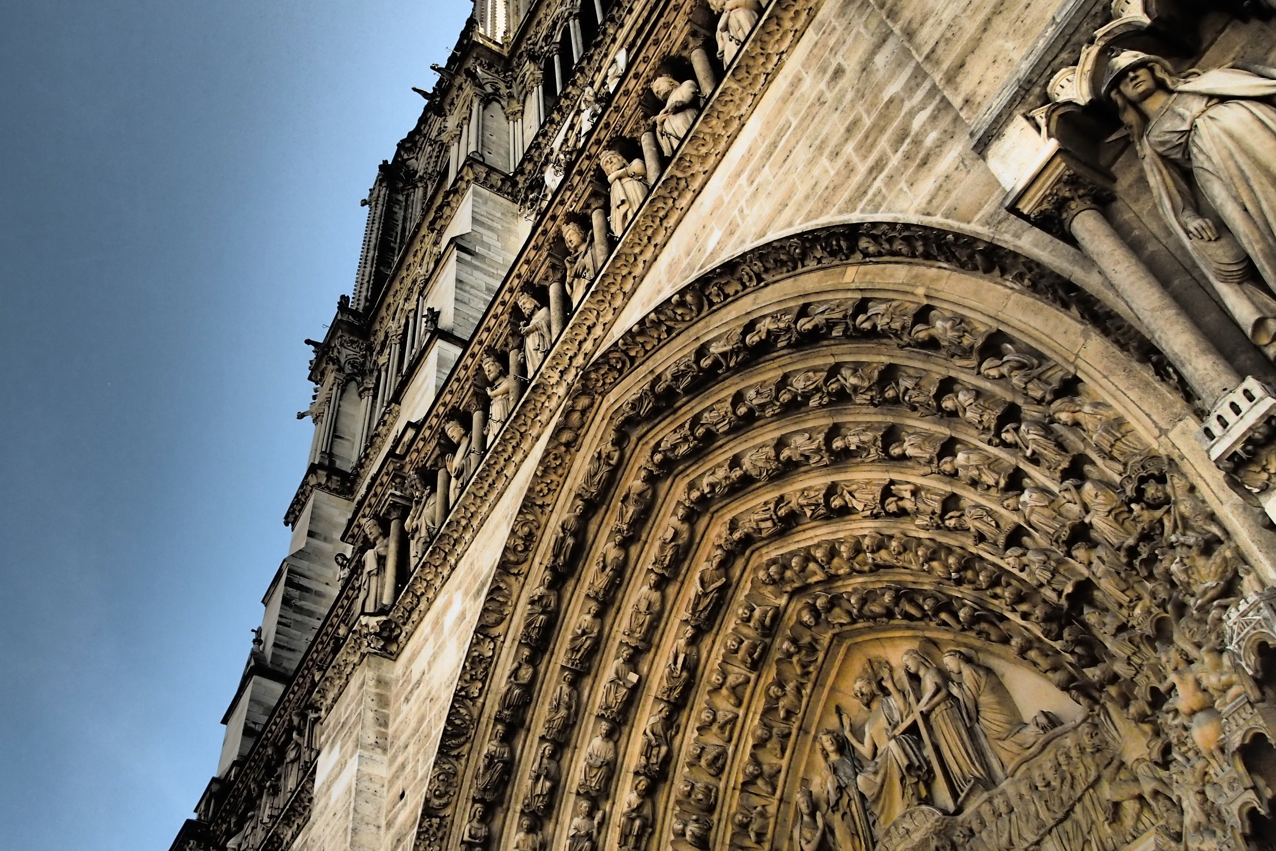 Upwards view of the Notre Dame