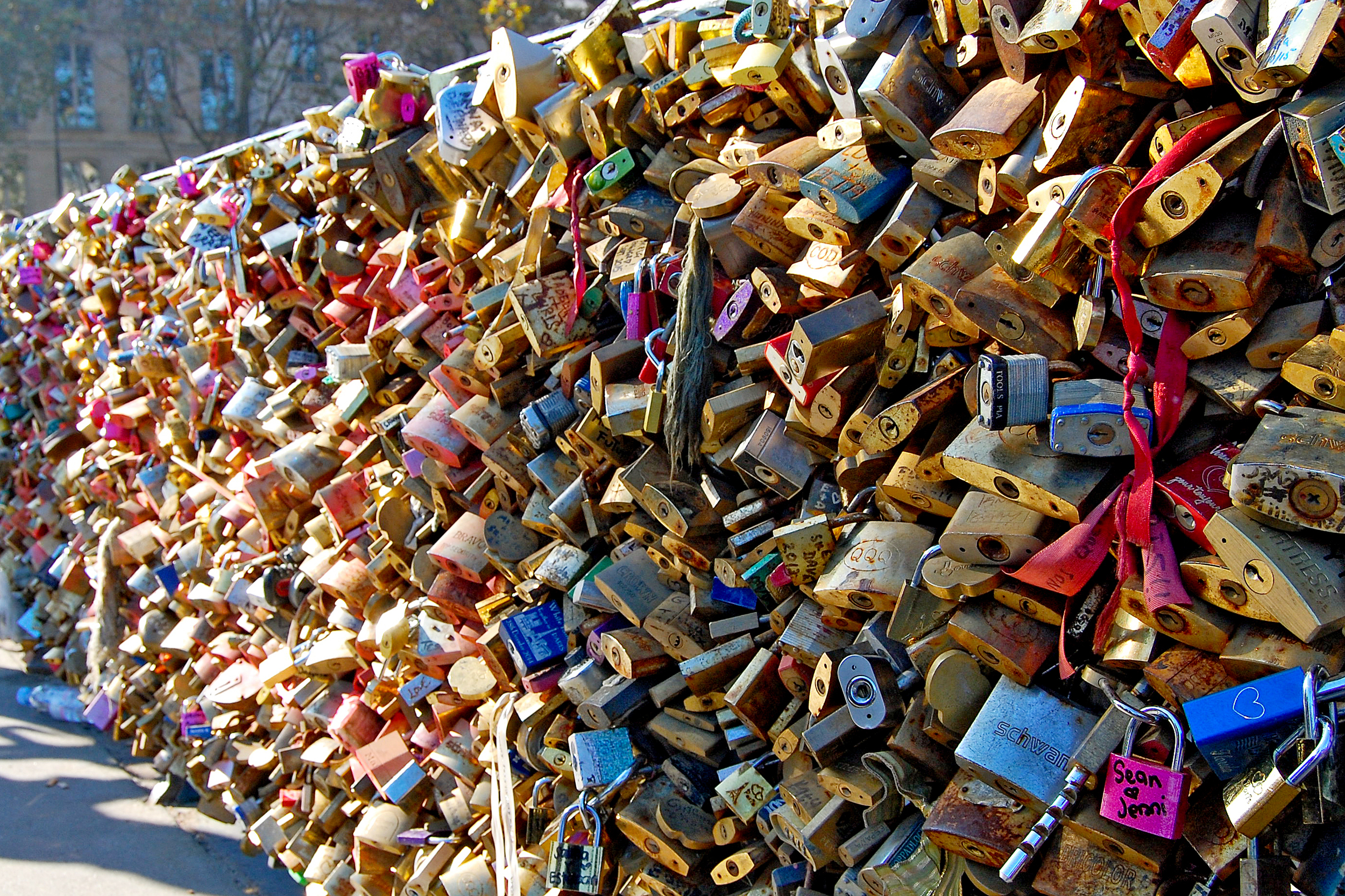 A bridge full of padlocks