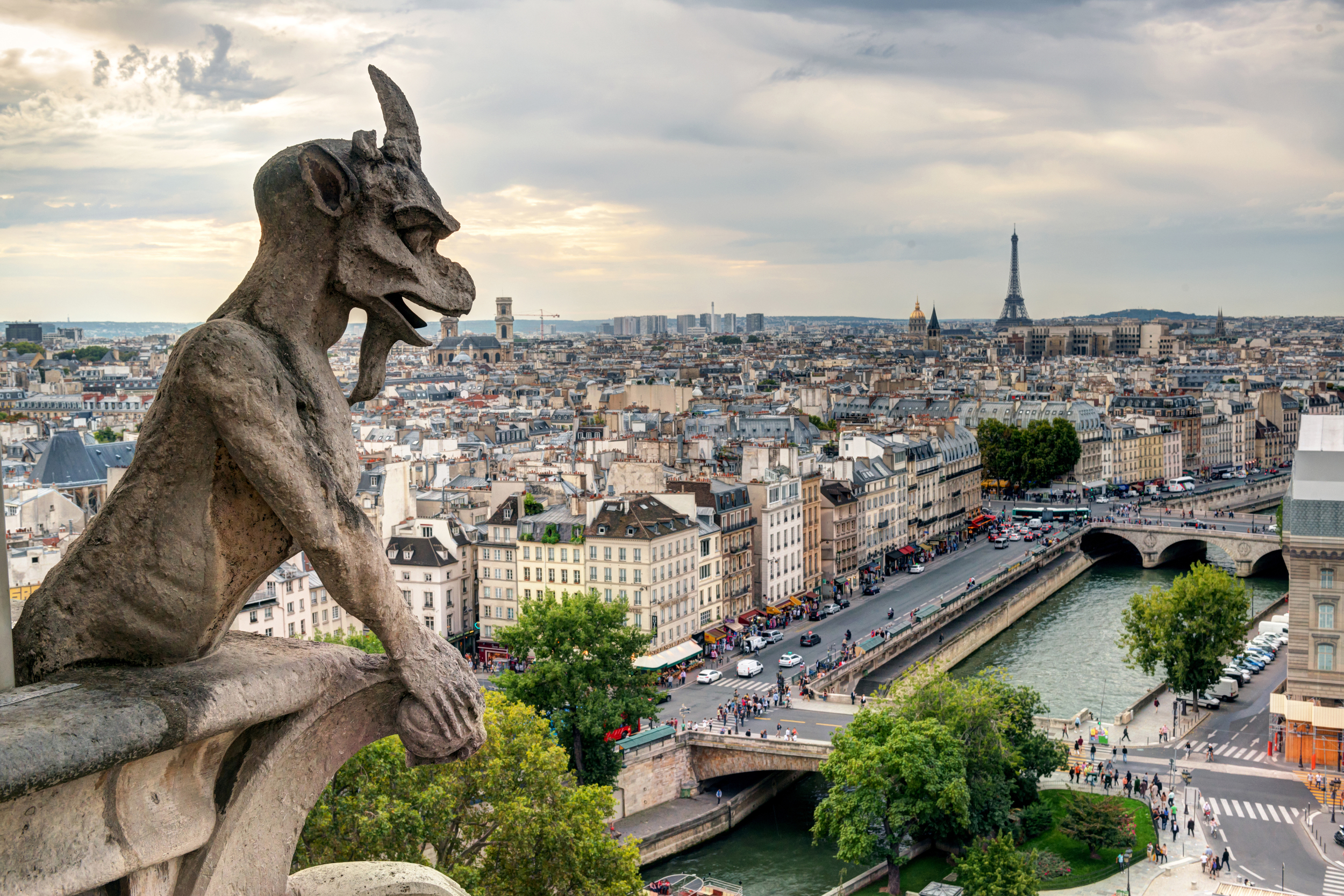 A gargoyle overlooking the River Seine and city