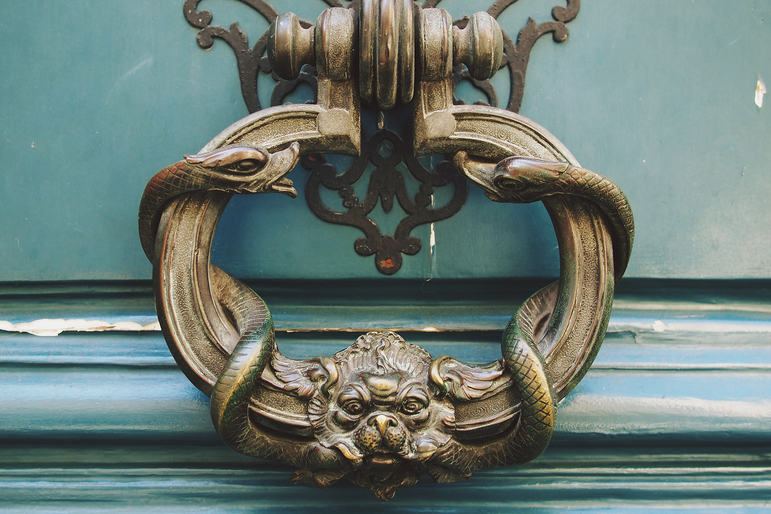 Close up of a brass door knocker
