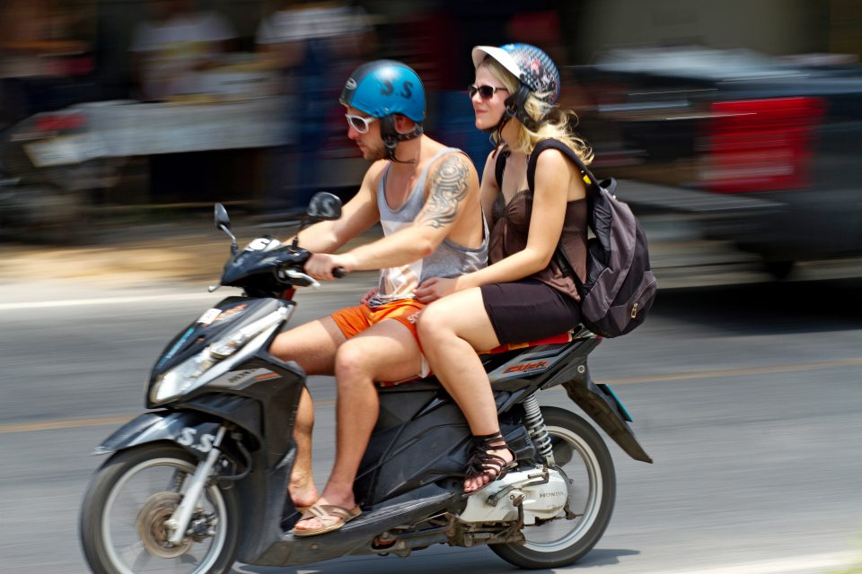 A couple on a motorbike