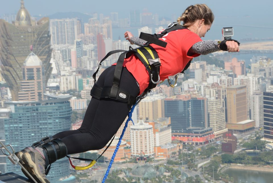 Girl bungee jumps from top of Macau Tower