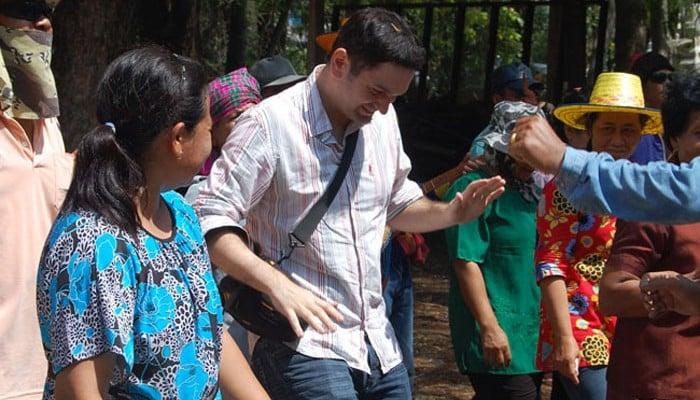 Allan Wilson Dancing with Locals in Buriram