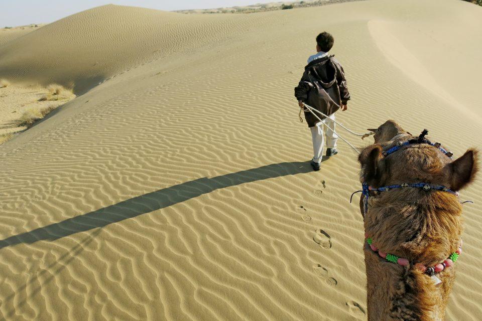 A man leading a camel