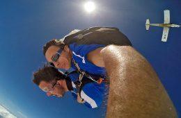 Two men skydiving