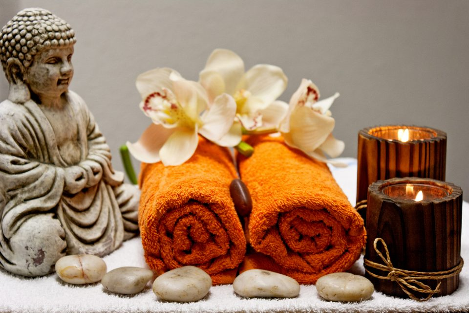 Spa accessories with buddha, flannels and candles