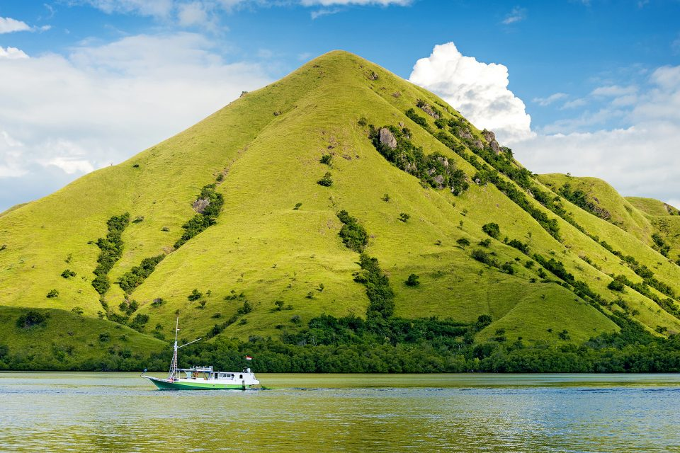A boat sailing past a green mountain