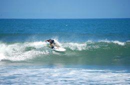 A man surfing a wave