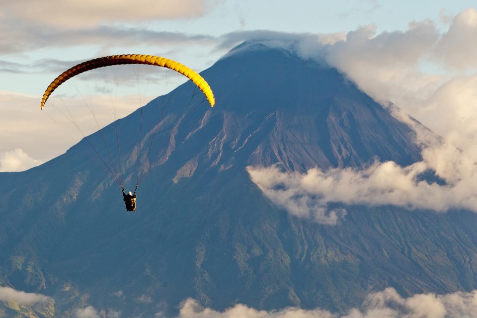 Paragliding over a volcano