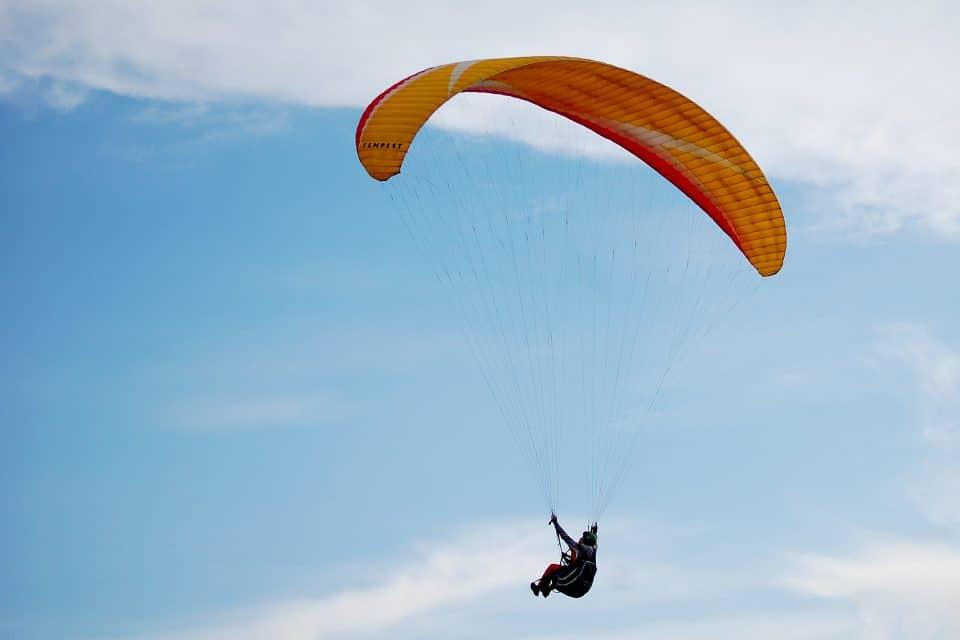 A woman paragliding