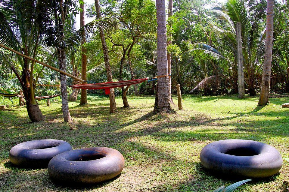 A hammock and tubing rings