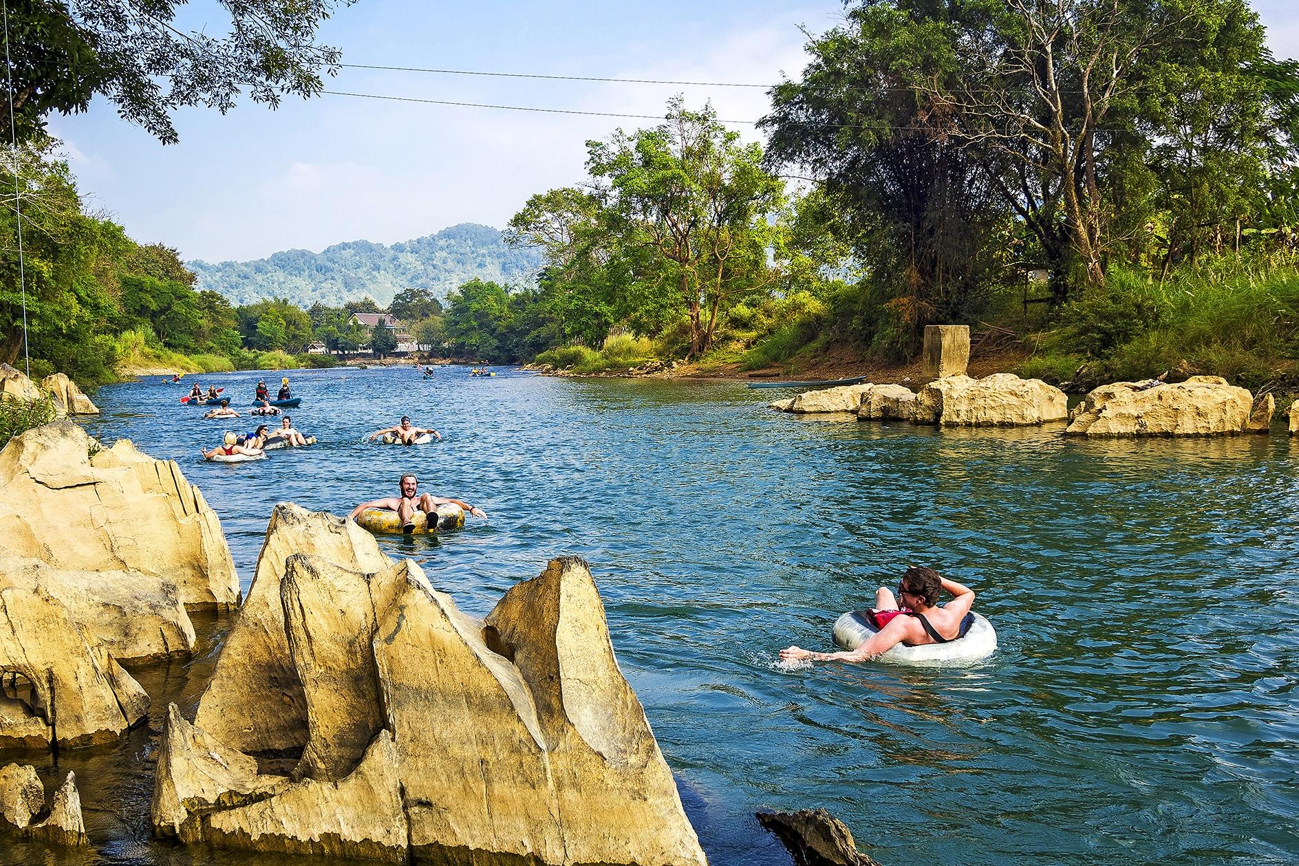 crazy tubing in vang vieng laos