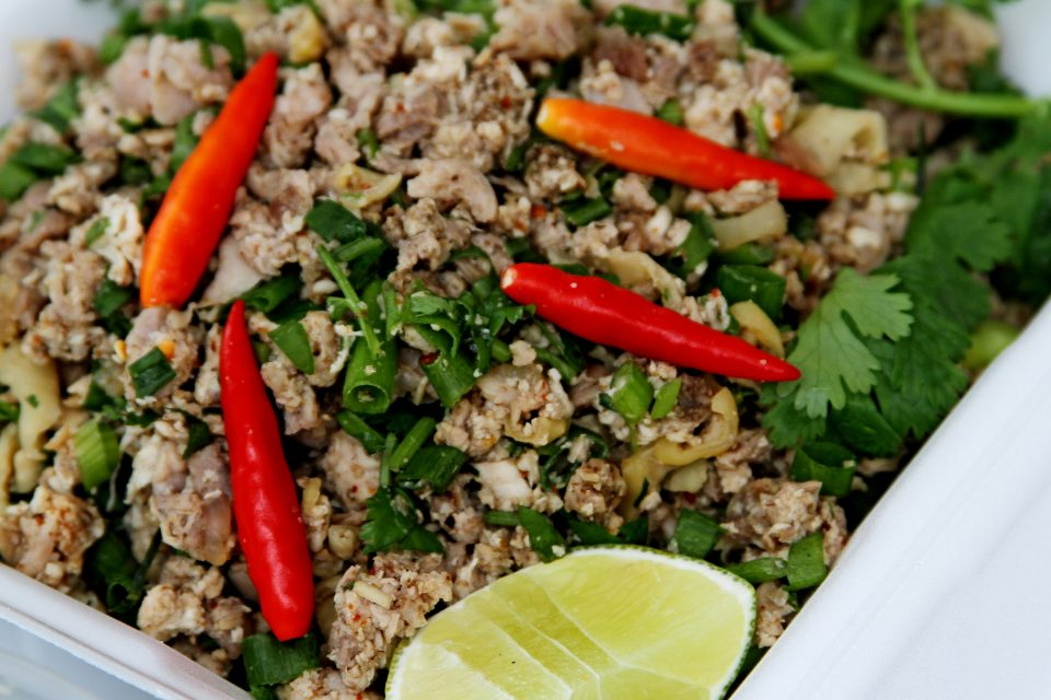Close up of larb