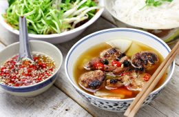 Bowls of traditional vietnamese food