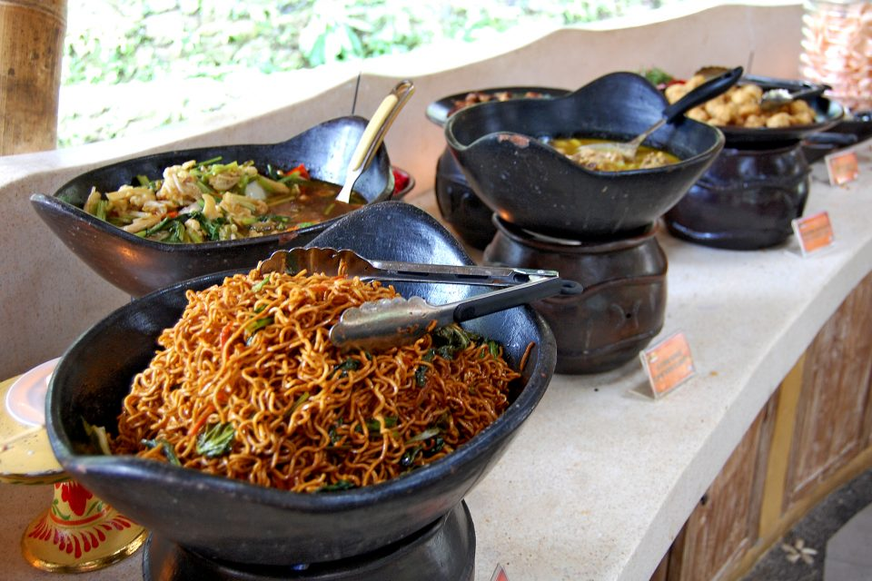 Bowls of traditional Indonesian dishes