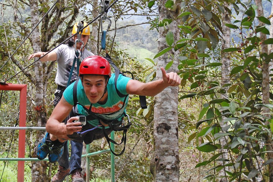 A man at the start of the zipline