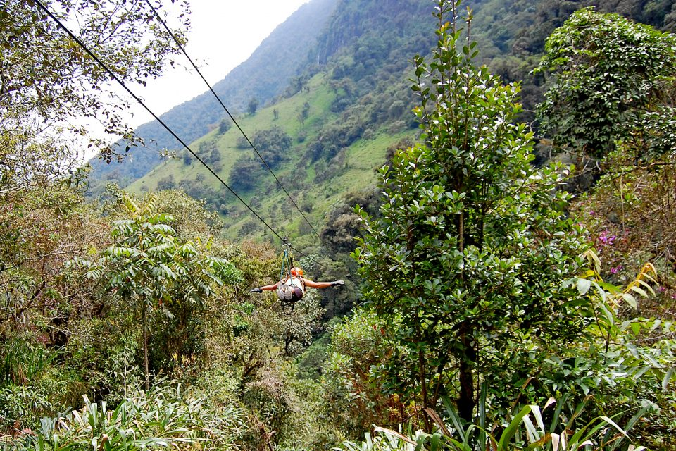 A man ziplining through the jungle