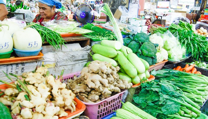 veggies in market cooking school